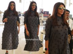 lakshmi manchu at hyderabad airport in black kurta