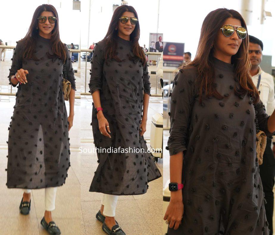 lakshmi manchu at hyderabad airport in black kurta