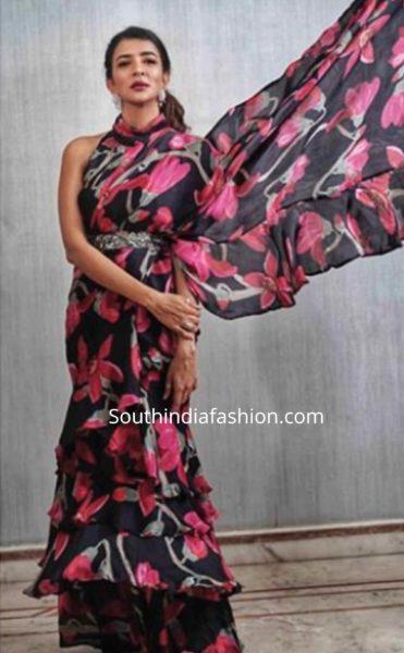 lakshmi manchu black printed ruffle saree (2)