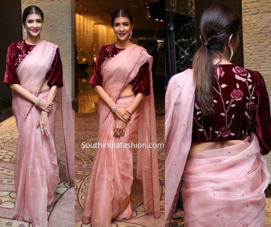 lakshmi manchu in pink organza saree at jaya sudha son wedding reception