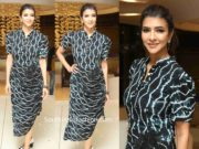lakshmi manchu printed black dress