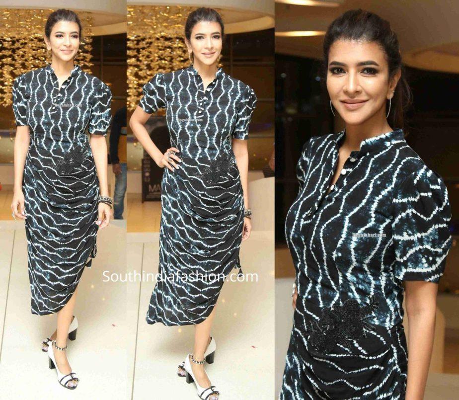 lakshmi manchu printed black dress