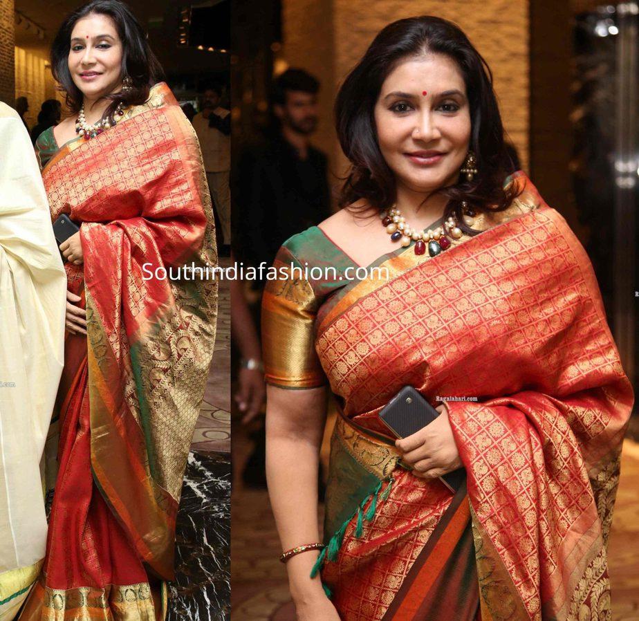 lissy in red silk saree at jayasudha son wedding reception