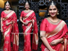 madhumitha shivabalaji in red banarasi saree at jayasudha son wedding reception