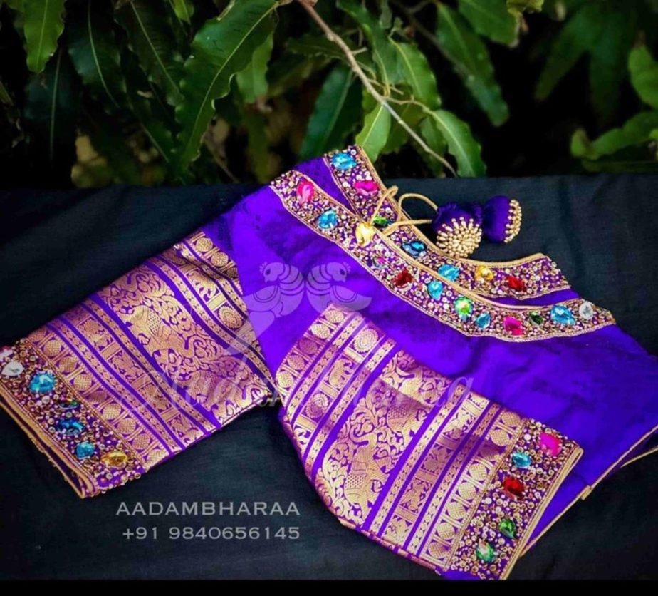 maggam aari stone work blouse