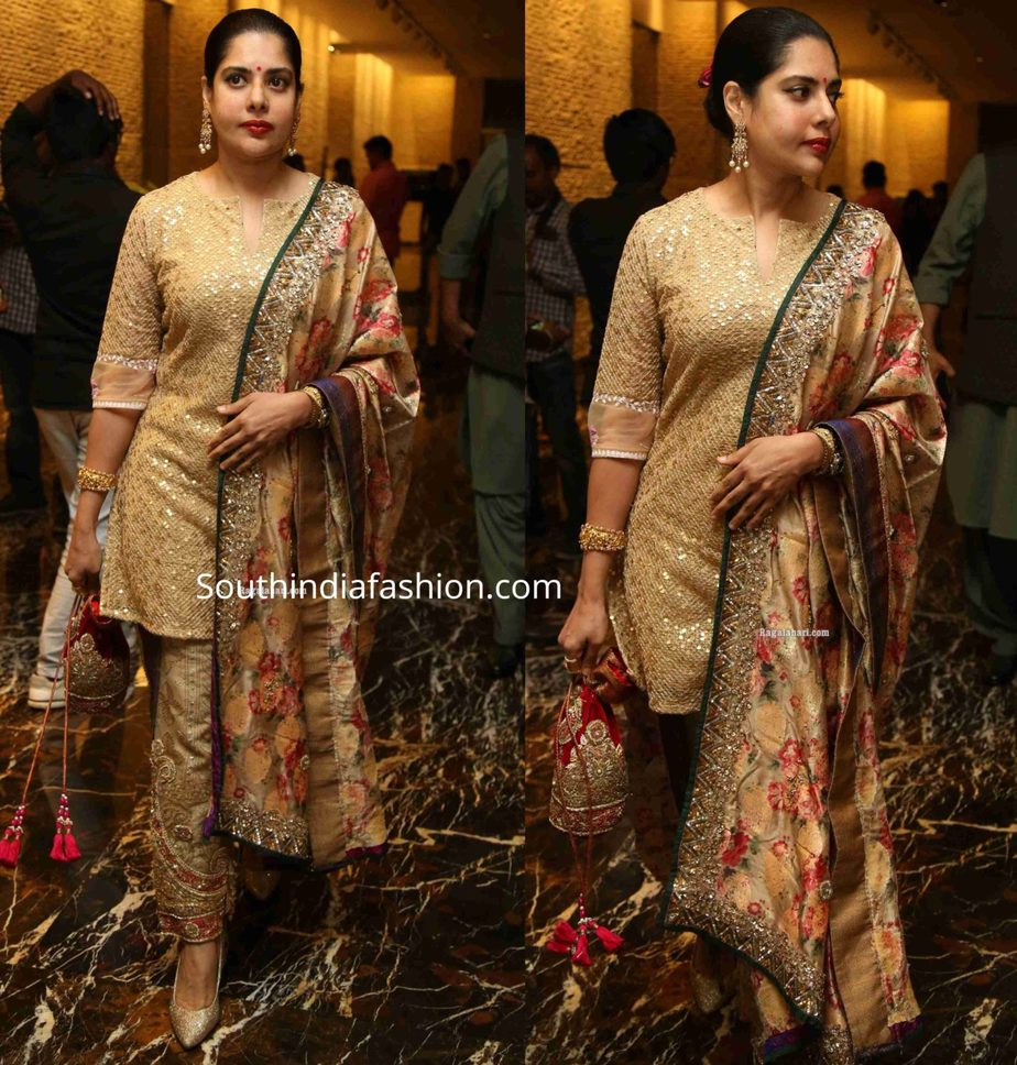 maheswari in gold salwar kameez at jayasudha son wedding reception