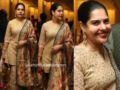 maheswari in gold salwar kameez at jayasudha son wedding reception
