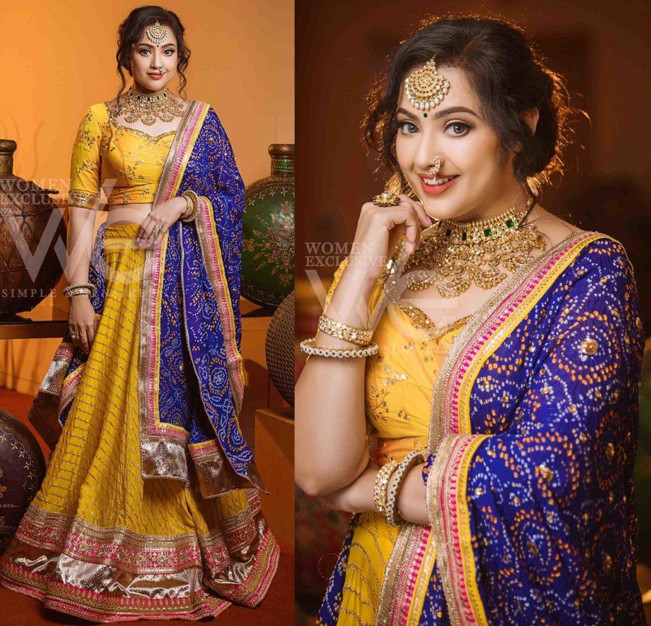 meena in yellow and blue lehenga we magazine
