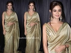 meera chopra in gold saree