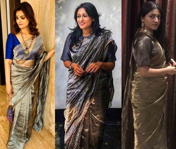 metallic silk sarees