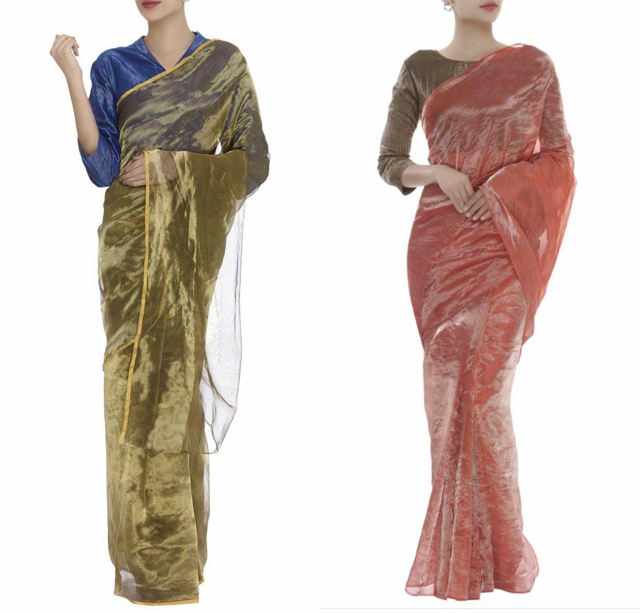 metallic silk sarees online