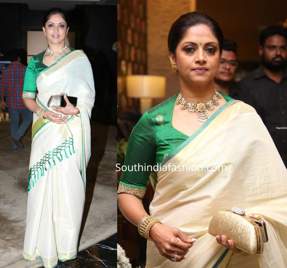 nadhiya in cream color kasavu saree at jayasudha son wedding reception (1)
