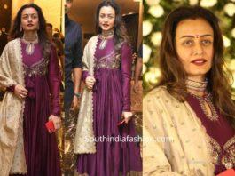 namrata shirodkar in purple jayanti reddy anarkali at jayasudha son wedding reception (2)
