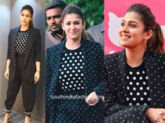 nayanthara black polka dot suit womens day event