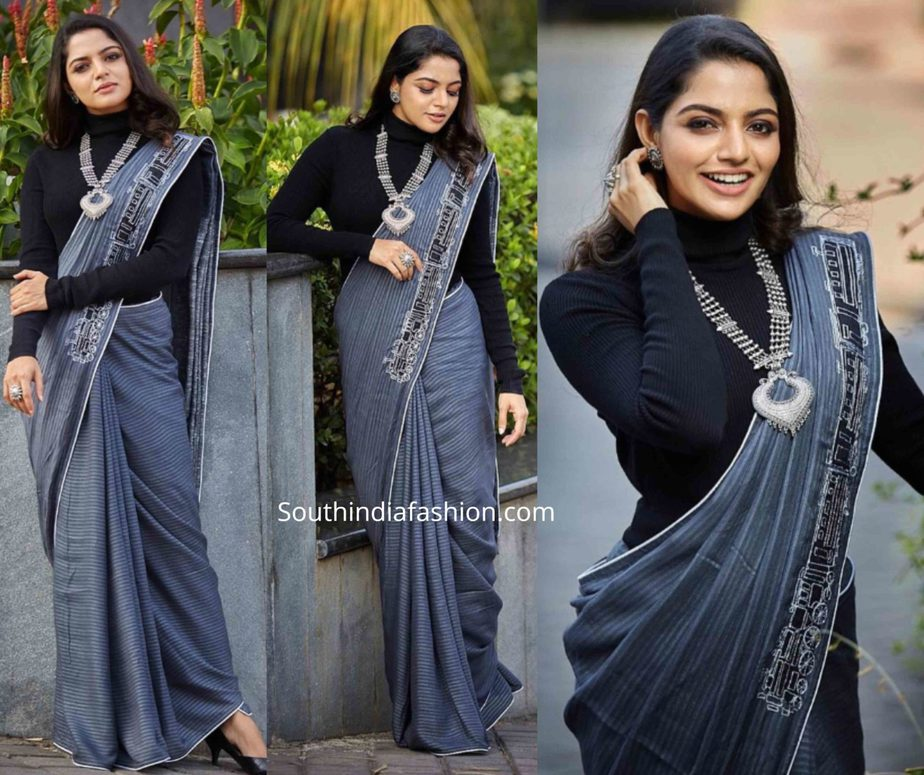 nikhila vimal grey saree with black t-shirt