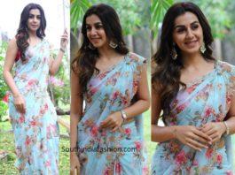 nikki galrani in blue floral saree at raajavamsam audio launch (3)