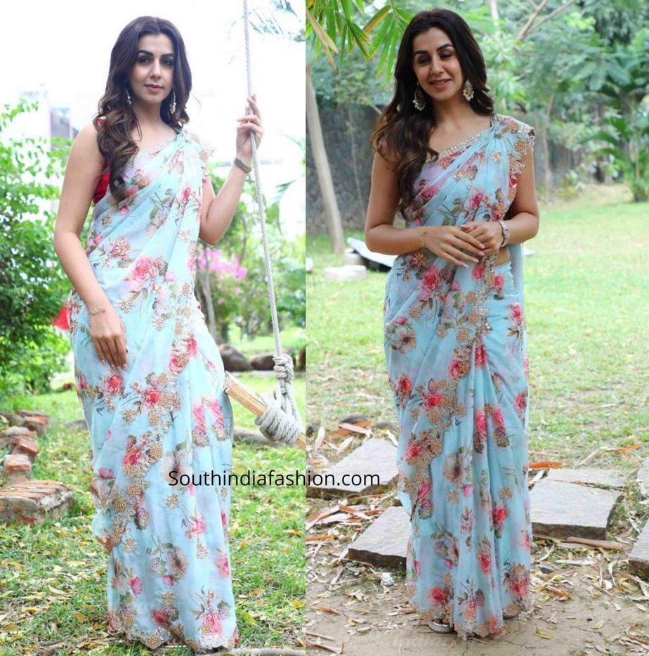 nikki galrani in blue floral saree at raajavamsam audio launch (4)