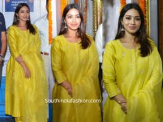 nivetha pethuraj yellow salwar kameez at her new movie opening