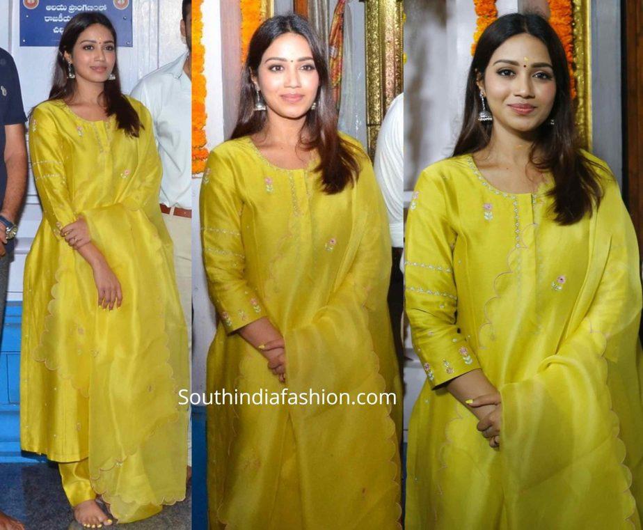 nivetha pethuraj yellow salwar kameez at her new movie opening