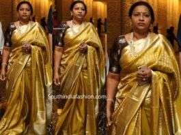 padmaja konidela in gold kanjeevaram sareeat jayasudha son wedding