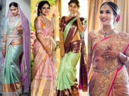pastel color kanjivaram sarees for weddings