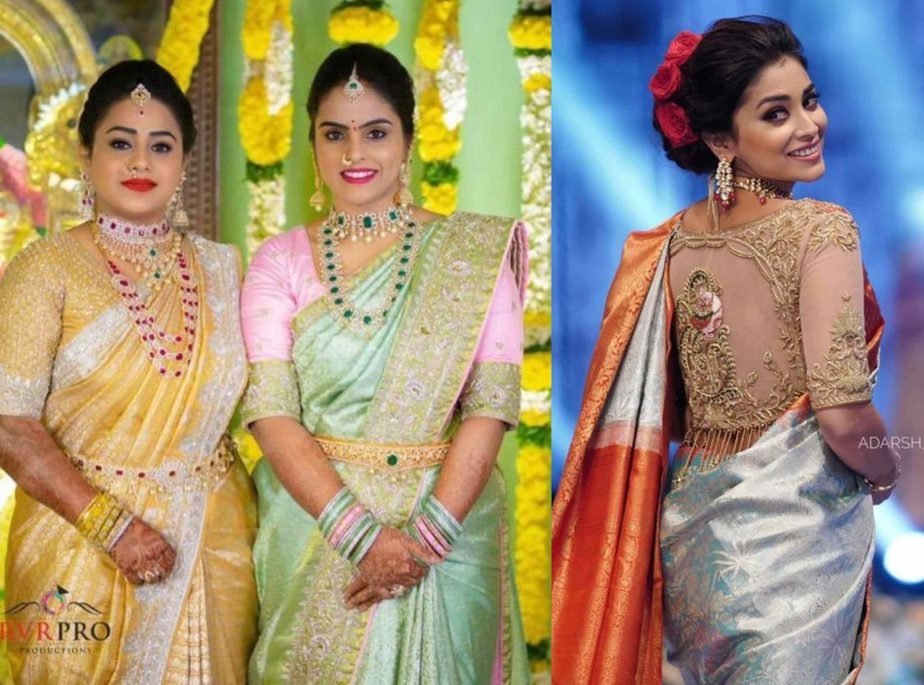 pastel color pattu sarees for weddings