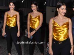 pooja hegde in black pants with orange top at angrezi medium screening