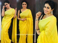 poorna yellow linen saree