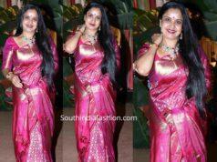 pragathi in pink kanjeevaram saree at a wedding