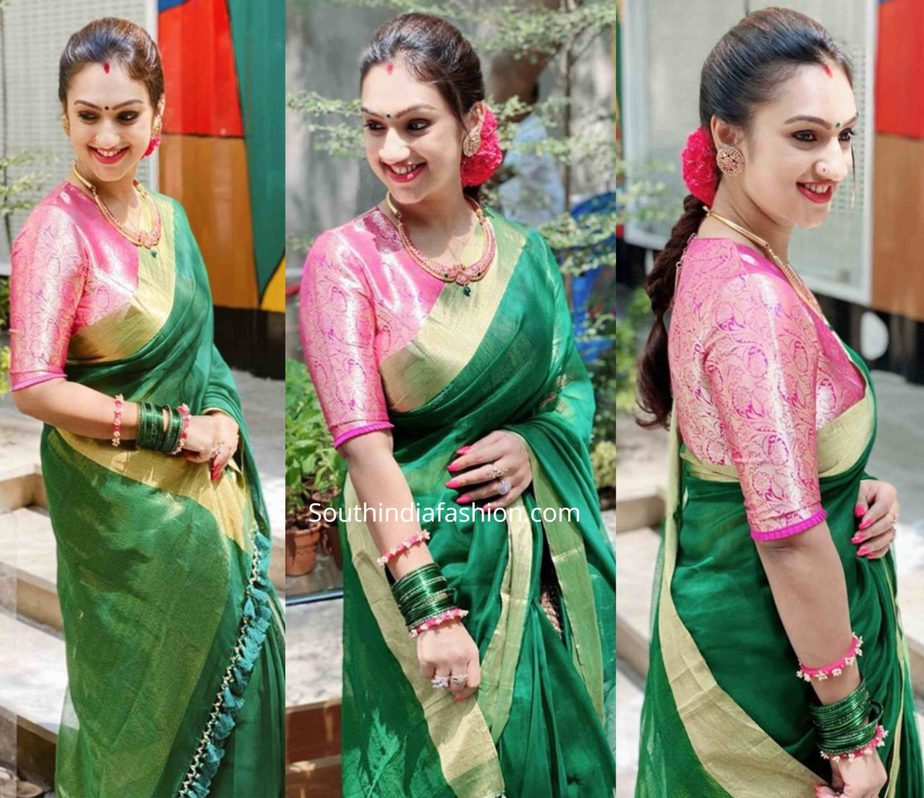pritha hari in green saree and pink blouse by raw mango