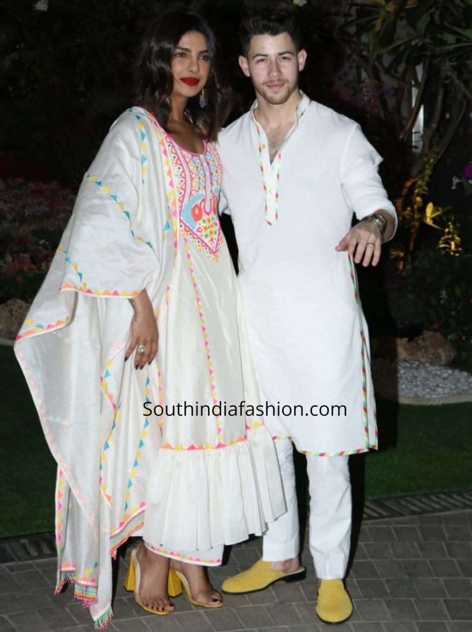 priyanka chopra and nick jonas twinning in white at isha ambani holi party (2)