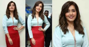 raashi khanna in a red pencil skirt