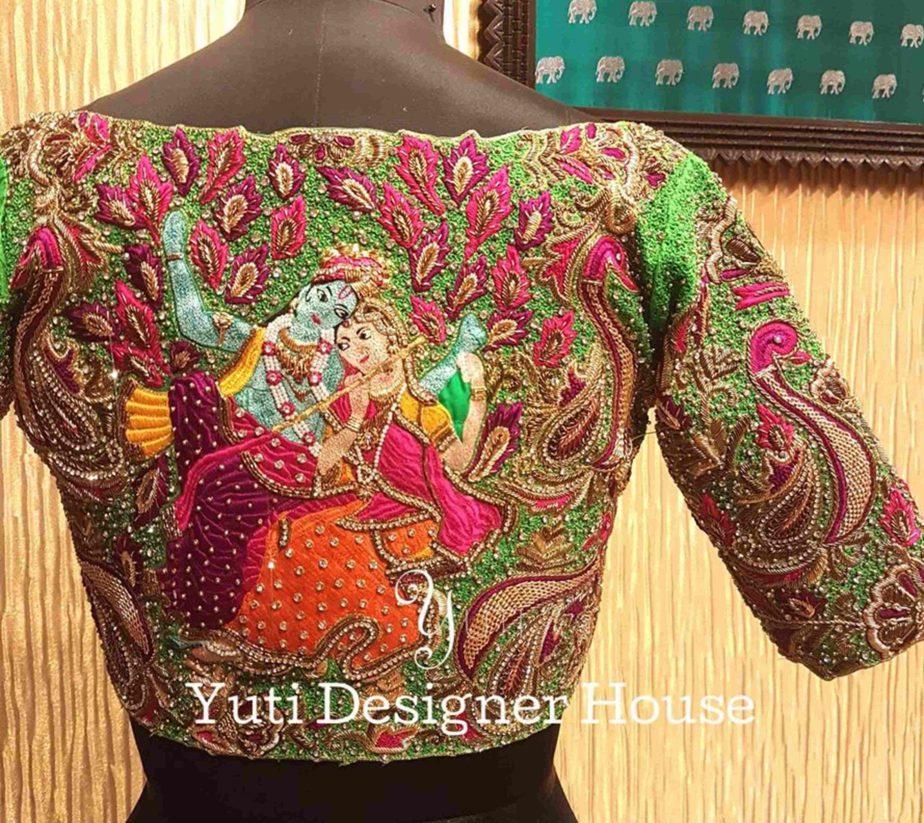 radha krishna embroidered blouse