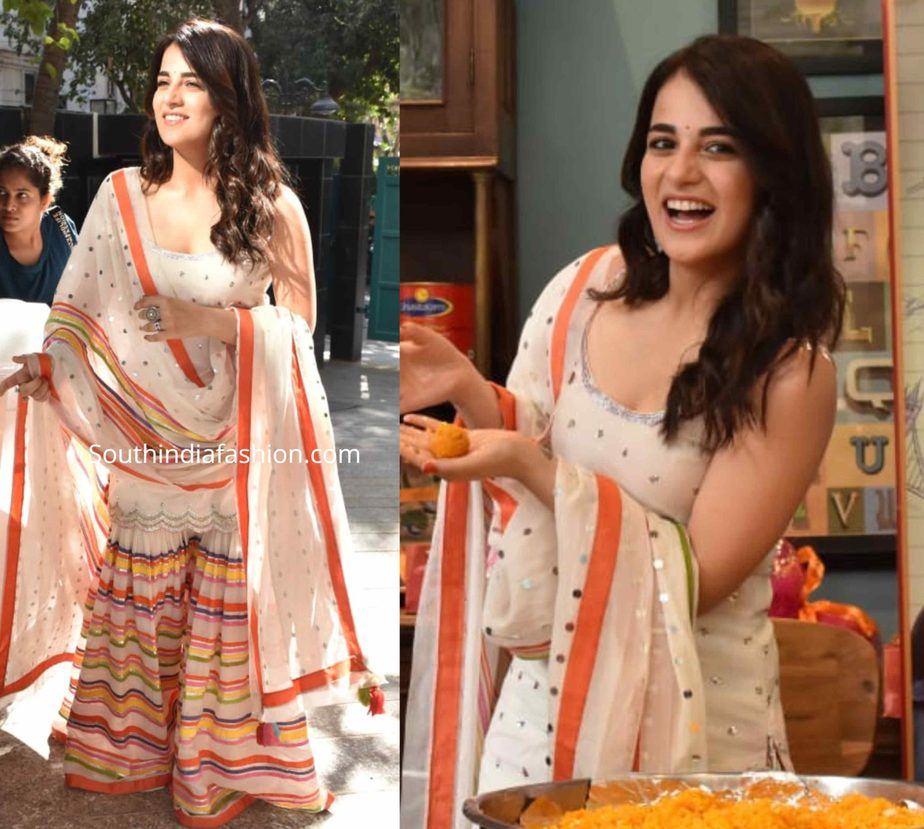 radhika madan in sukriti aakriti sharara at angrezi medium promotions (1)