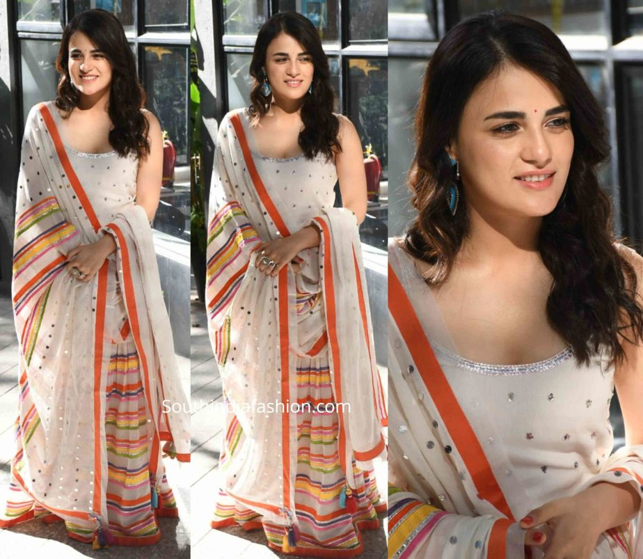 radhika madan in sukriti aakriti sharara at angrezi medium promotions