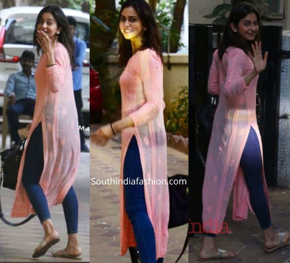 rakul preet singh in jeans with chikankari kurta