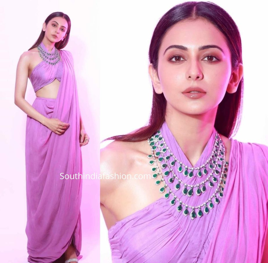 rakul preet singh in lavender fusion saree at zee cine awards 2020 (1)