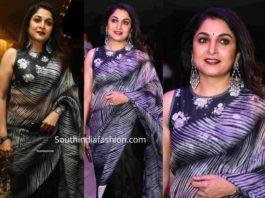 ramya krishnan in black organza saree saree at jayasudha son wedding reception (2)