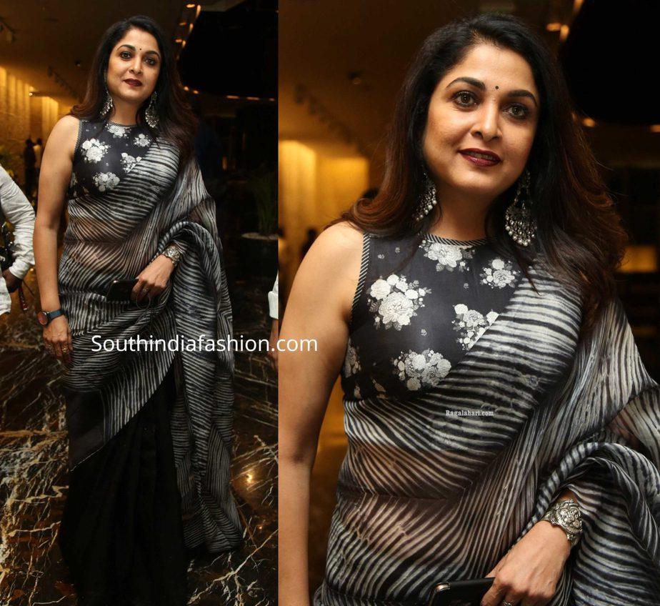 ramya krishnan in black organza saree saree at jayasudha son wedding reception