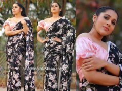 rashmi gautam in black floral saree