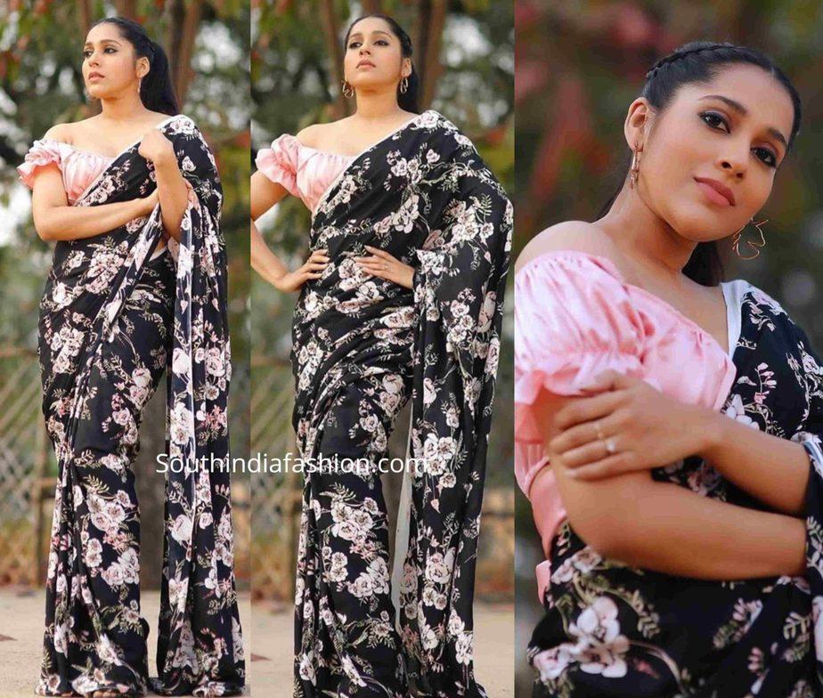 rashmi gautam in black floral saree