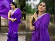 rashmi gautam in purple ruffle saree