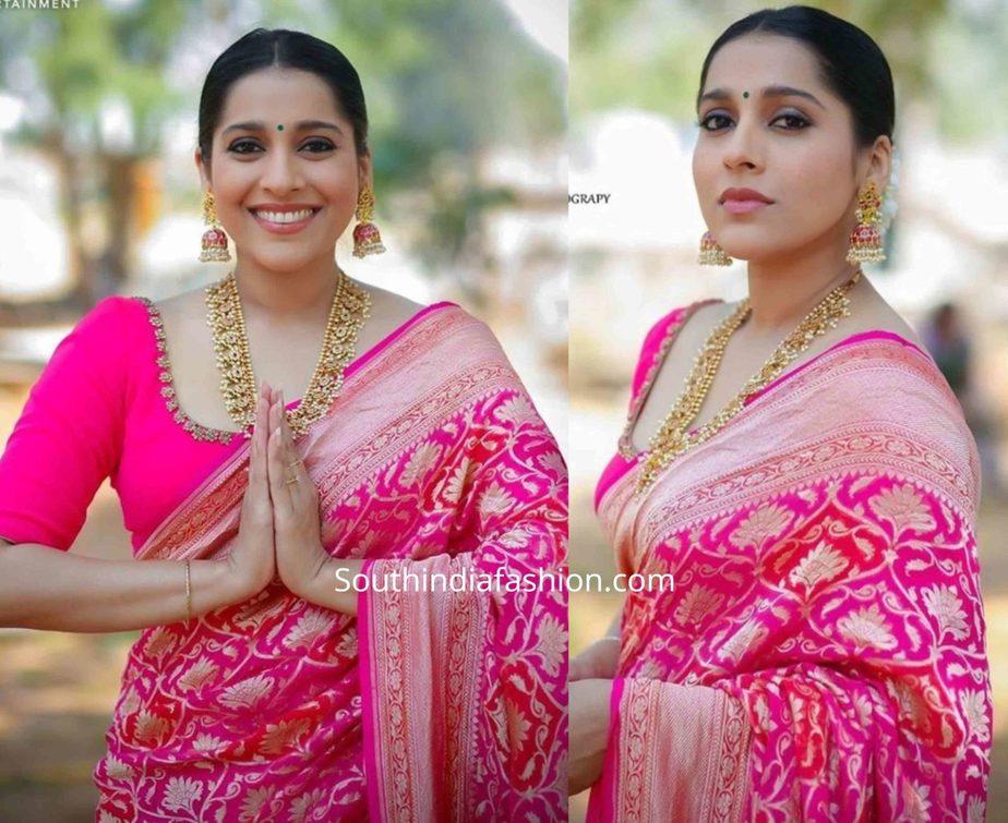 rashmi gautam pink banarasi silk saree ugadi jabardasth tv show (1)