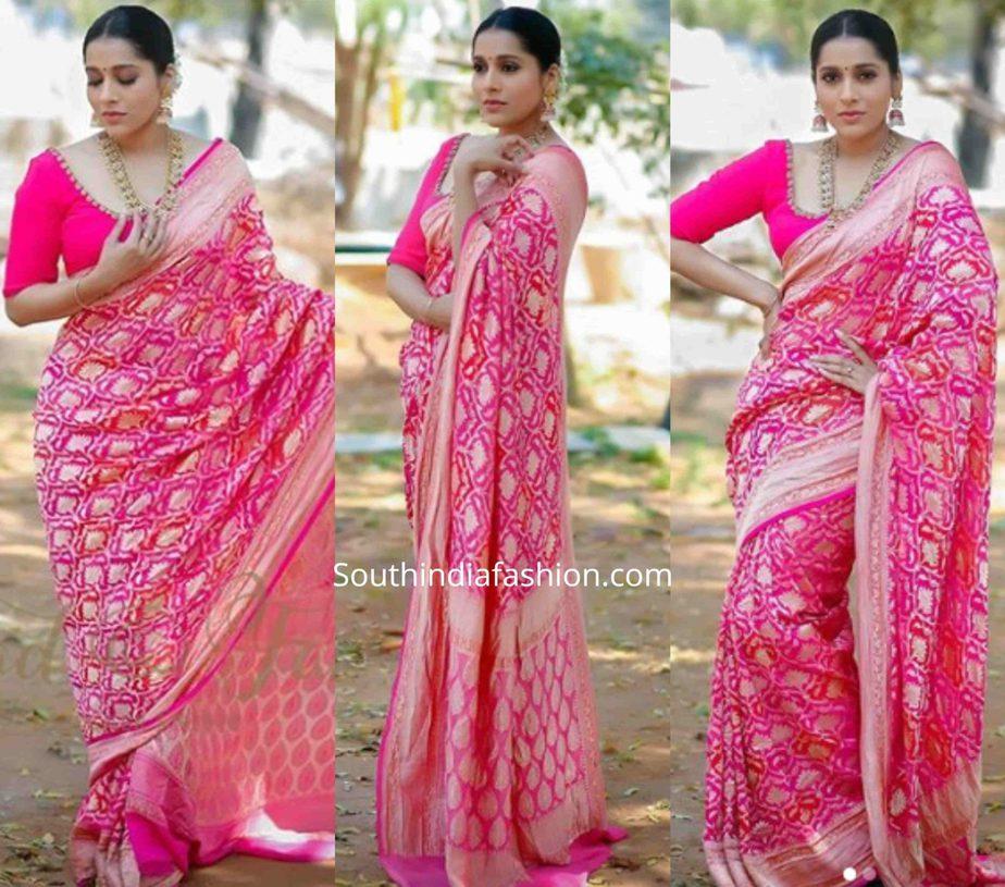 rashmi gautam pink banarasi silk saree ugadi jabardasth tv show