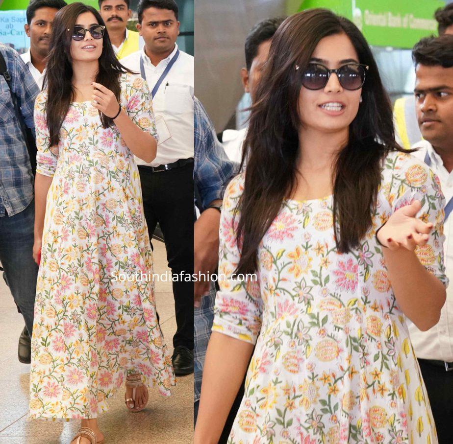 rashmika mandanna floral dress airport look