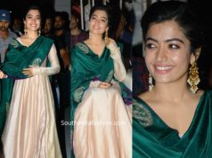 rashmika mandanna in cream anarkali with green dupatta at bheeshma thanks meet (3)