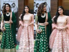 raveena tandon and her daughter in ethnic wear at a wedding