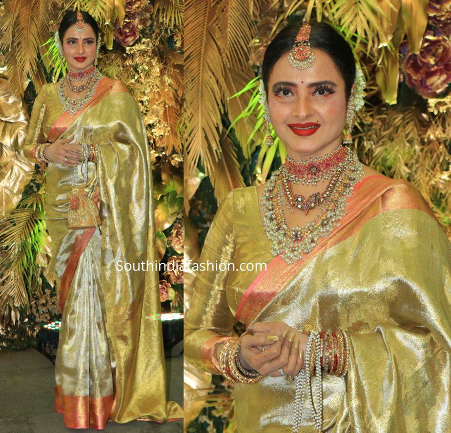 rekha in Lime green-yellow kanjeevaram saree