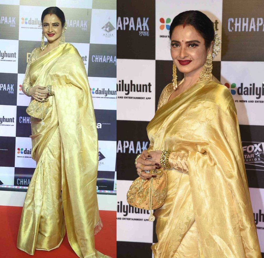 rekha in gold kanjeevaram silk saree