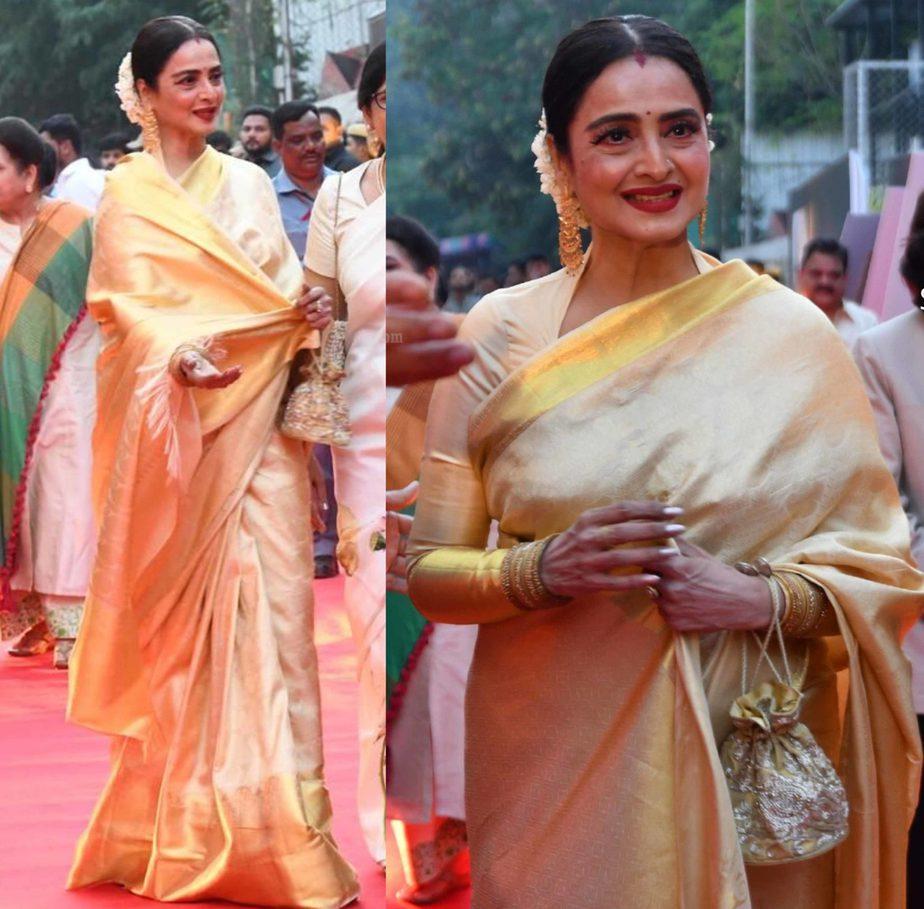 rekha in gold silk saree